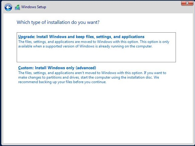 Installation process for Windows Server 2019
